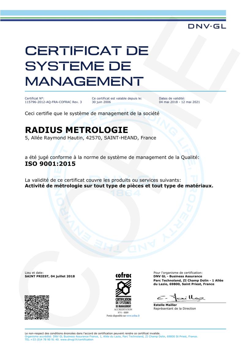 Radius Métrologie Certificat ISO9001v2015-1